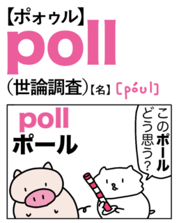 poll(世論調査)英単語のゴロ合わせ4コマ漫画 Lesson.465