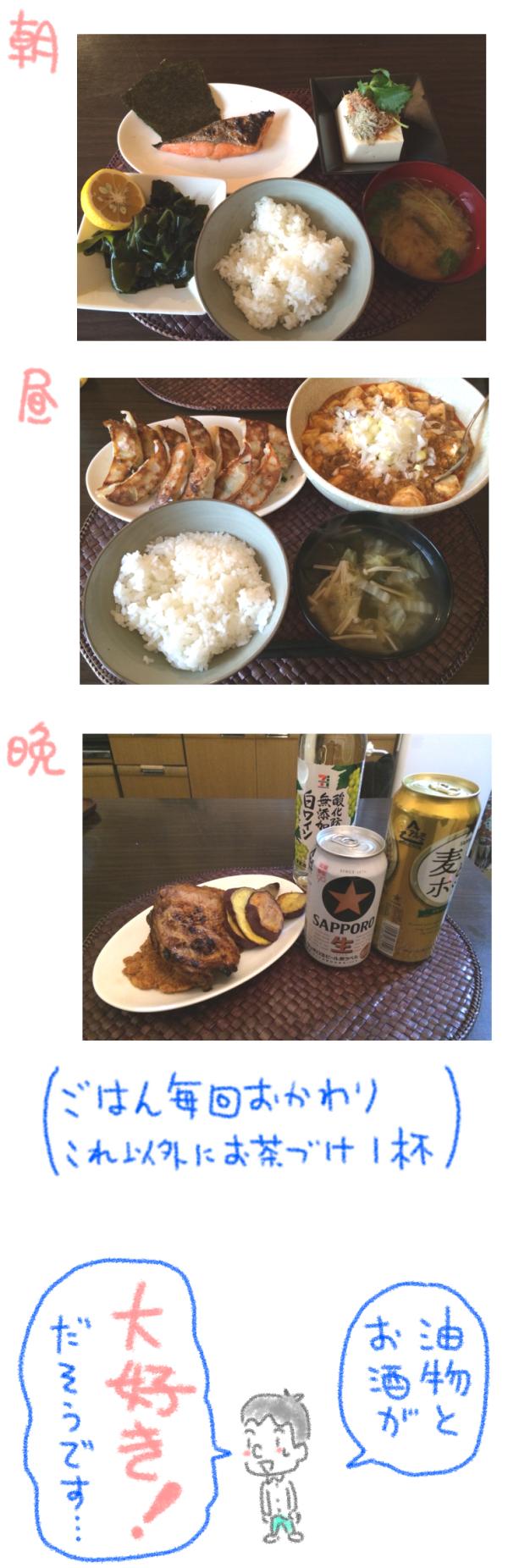 ダイエット前の食事内容