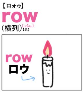 row(横列) 英単語のゴロ合わせ4コマ漫画 Lesson.433