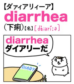 diarrhea(下痢)英単語のゴロ合わせ4コマ漫画 Lesson.462