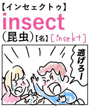 insect(昆虫) 英単語のゴロ合わせ4コマ漫画 Lesson.238
