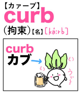 curb(拘束) 英単語のゴロ合わせ4コマ漫画 Lesson.315