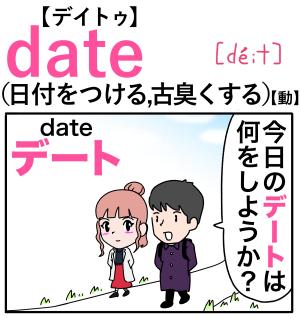 date(日付をつける) 英単語のゴロ合わせ4コマ漫画 Lesson.184