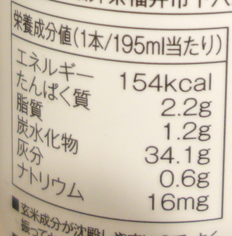 玄米ドリンクの栄養価