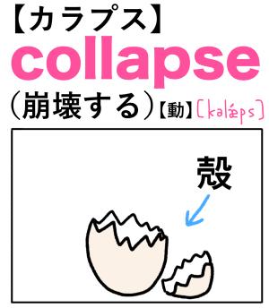 collapse(崩壊する) 英単語のゴロ合わせ4コマ漫画 Lesson.303