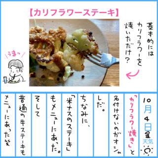 カリフラワーステーキを食べたり【健康日記】