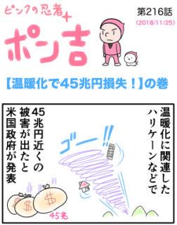 ピンクの忍者ポン吉 第216話【温暖化で45兆円の損失!】の巻