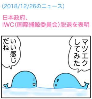 【でいりーNEWS4コマ】日本政府、IWC(国際捕鯨委員会)脱退を表明。商業捕鯨7月から再開
