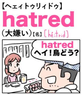 hatred(大嫌い) 英単語のゴロ合わせ4コマ漫画 Lesson.394
