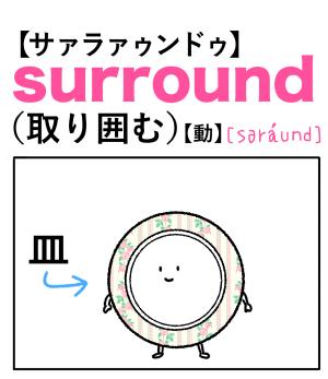 surround(取り囲む) 英単語のゴロ合わせ4コマ漫画 Lesson.273